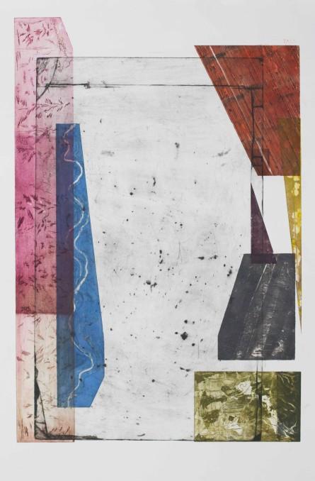 Two Landscapes version 1, 2017, intaglio, sugar-lift, open-bite, engraving, aquatint, 35.5'x22.5'