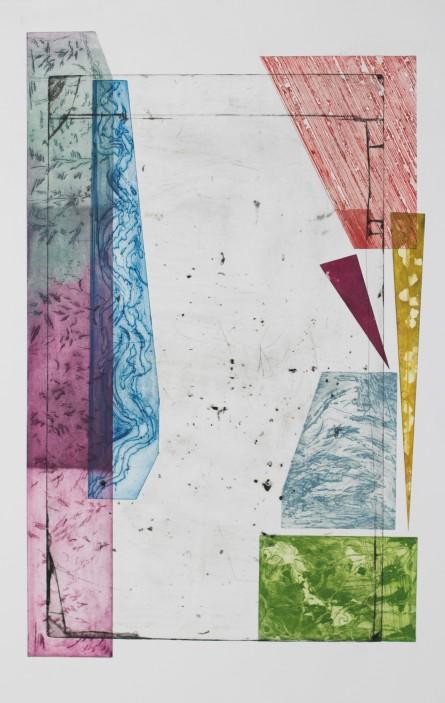 Two Landscapes version 2, 2017, intaglio, sugar-lift, open-bite, engraving, aquatint, 35.5'x22.5'