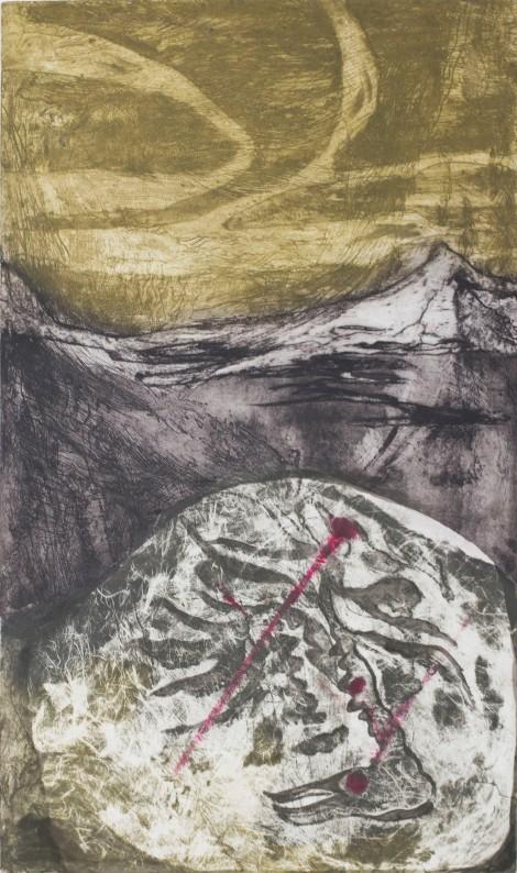 Midway Terrain, 2017, intaglio, aquatint, sugar-lift, open-bite, chine-colle, 32'x19'
