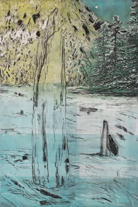 Murderous Lake, 2017, monotype, intaglio, 35.5'x24'
