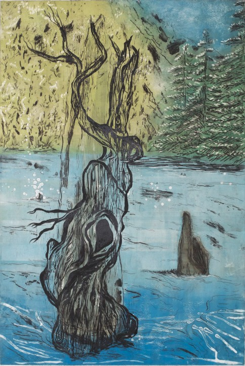 Dragon Pine in Murderous Lake, 2017, monotype, intaglio, woodcut, 35.5'x24'