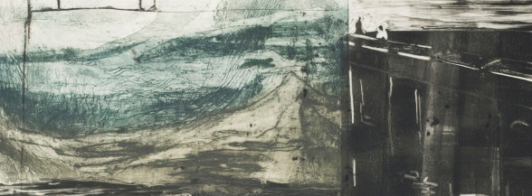 Wall Keepers, 2017, 8'x28', intaglio monotype